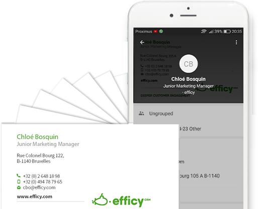 business card scan Efficy mobile app