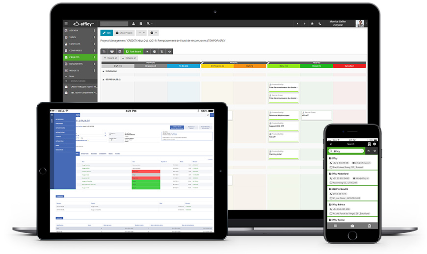 Desktop, smartphone and tablet with Efficy CRM