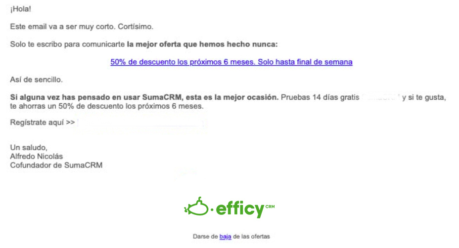 email descuento