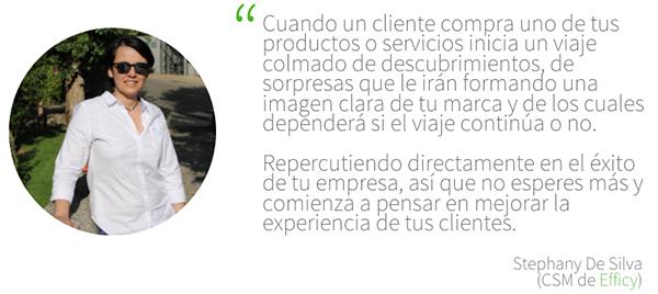 Frase de Stephany sobre el Customer Service y Customer Care